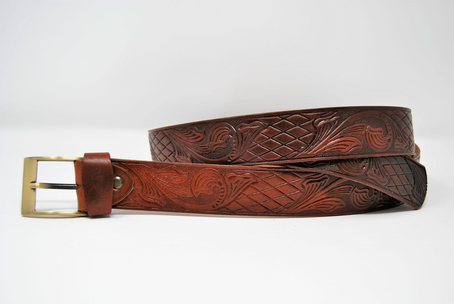 """Cintura pantalone in cuoio ingrassato a mano mm 35 stampo """"Western"""" CP 16"""